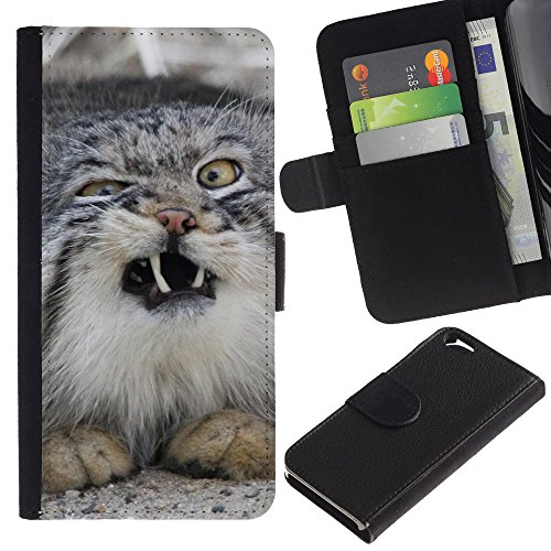 OMEGA Case / Apple Iphone 6 4.7 / Norwegian forest cat wild sneeze / Cuir PU Portefeuille Coverture Shell Armure Coque Coq Cas Etui Housse Case Cover Wallet Credit Card