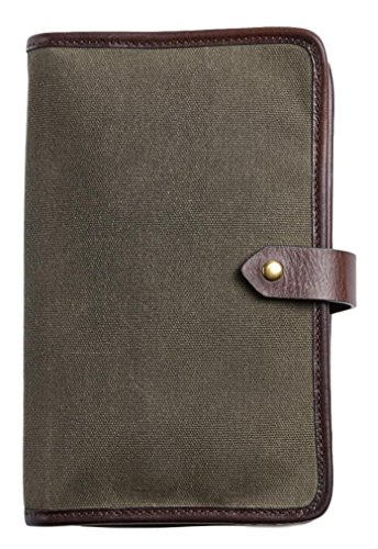 Otter Pass Travel Case in Leather & Canvas - Olive & Espresso by Otter Pass