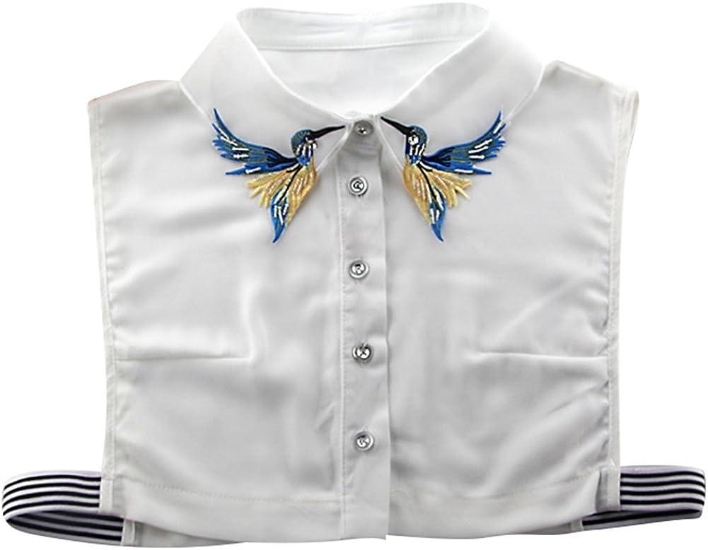Señoras Falsas Medias Cuello Camisa Mujeres Bordado algodón Collar Desmontable: Amazon.es: Ropa y accesorios