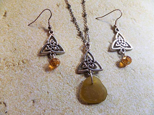 (Celtic Knot Scottish Sea Glass Necklace and Earrings Set in Gold and Silver, Rare Sea Glass)