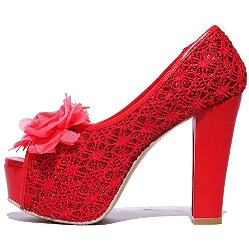 Adee Mujer de Satén de sandalias de sandalias Red