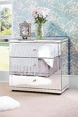 My-Furniture - FLAVIA - Cómoda de espejo con zócalo (3 ...