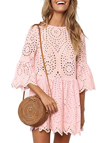 Flare Hollow Elegant Dress Sleeves Simplee Waist High Mini Pink Women's Out Half t0qyAT