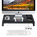 Monitor Riser Stand - Screen Riser for Computers, Laptops & TV - Desk Storage Organizer Designed for Home or Office with 3 USB Ports (Black)