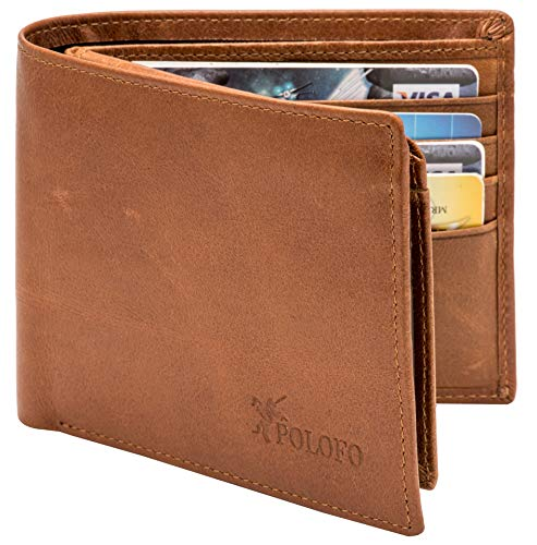 RFID Blocking Genuine Leather Bifold Wallet for Men with Zipper and 2 ID Windows (Brown) ()
