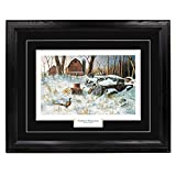 ''Winter Haven'' - Jim Hansel, Pheasants in Winter Wall Art Print for Home / Office / Hotel / Cabin / Gift, Framed 30 x 40 in., Black Mat / Black Frame – More Frames Available