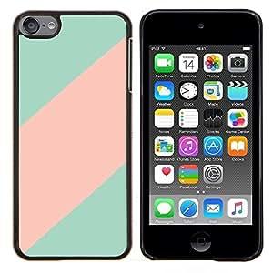 LECELL--Funda protectora / Cubierta / Piel For Apple iPod Touch 6 6th Touch6 -- línea rosa teal patrón minimalista limpio --