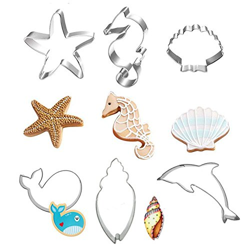 Sea Creature Cookie Cutter Set - 6 Piece - Seahorse, Starfish, Whales, Dolphins, Conch and Seashell - Stainless Steel Cookie Candy Food Molds