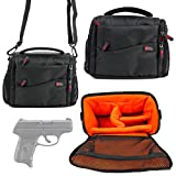 DURAGADGET Ruger LC9s Gun Storage / Carry Bag - Black & Orange Water & Shock-Resistant Shoulder Bag for Ruger LC9s Handgun & Accessories