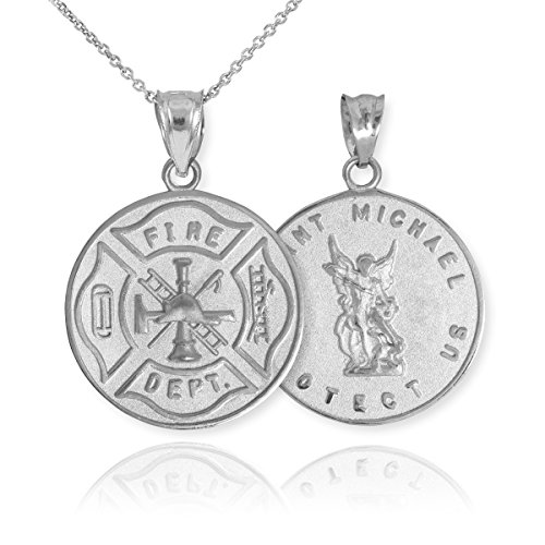 14k White Gold Fireman Protection Shield Medal of St Michael Firefighter Pendant Necklace, 16