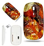 Luxlady Wireless Mouse White Base Travel 2.4G Wireless Mice with USB Receiver, 1000 DPI for notebook, pc, laptop, macdesign IMAGE ID: 22086719 Beef Ragout with wine sauce and vegetables on pan on fren
