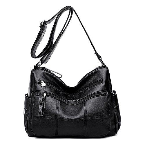 Moda La De Bolso Salvaje Negro Capacidad Black Hombro De Meaeo De Bolso Gran Bolso Pu Bolso g5BWzqw7