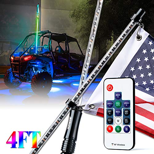 Xprite 4ft (1.2M) Remote Controlled RGB Whip Lights Dancing LED Chasing Light w/Flag for Offroad Jeep Sand Dune Buggy UTV ATV Polaris RZR 4X4 Trophy Truck