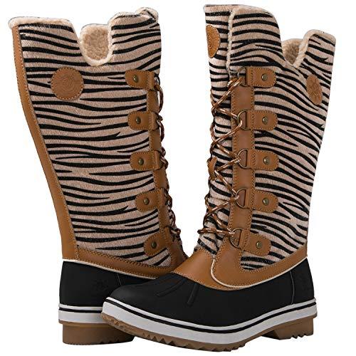 Zebra Camel (Globalwin Women's Camel Zebra Stripe Winter Snow Boots 7M US)