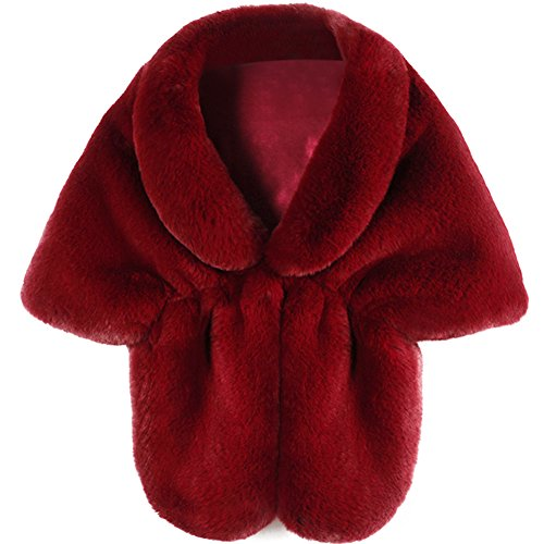 - Roniky Womens Winter Faux Fur Wedding Shawl Wrap Stole Shrug Bridal Wedding Cover Up (L, Wine red)