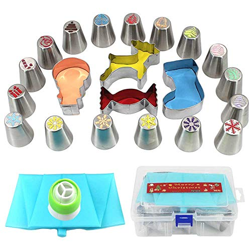 - Christmas Cake Nozzles Set 20pcs Piping Nozzles + 4pcs Cookie Mold Christmas Limited Edition!