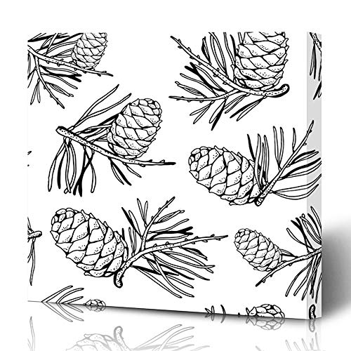 Ahawoso Canvas Prints Wall Art 12x16 Inches Pattern Branch Pine Cones Branches Nature Text Christmas Black Drawing Tree Pinecone Design Plant Decor for Living Room Office Bedroom