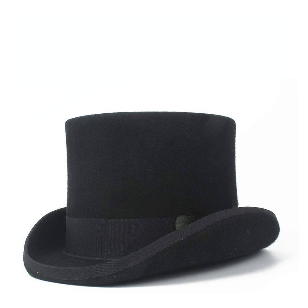 LL Women's Top Hat Ladies Wool Fedora Magician Party Hat 4Size S M L XL 13.5 cm (5.3 Inch) (Color : Black, Size : 57cm) by LL (Image #3)