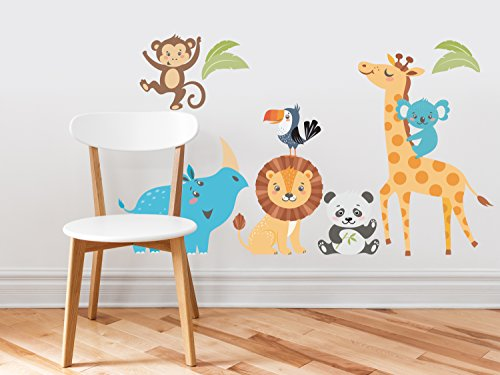 Wild Animal Park Fabric Wall Decals with Panda, Lion, Giraffe, Rhino, Toucan, Koala, and Monkey, Animal Wall Sticker, Non-Toxic, Removable, Reusable, ()