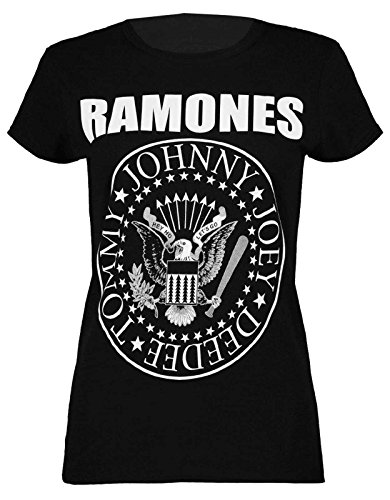 Ramones Ladies Tee - Thever Women Ladies Cap Short Sleeve Bodycon Ramones Print Top T Shirt (Black, M/L)