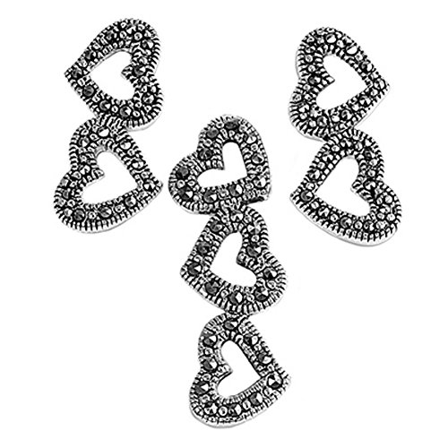 Heart Long Hanging Earrings Simulated Marcasite .925 Sterling Silver Pendant Set