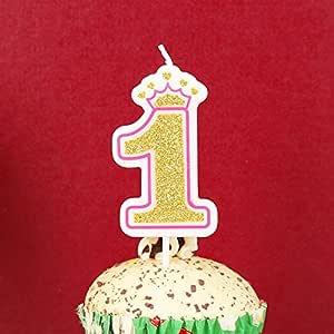 Oro brillo numeral moldeado Cake Vela-no 2