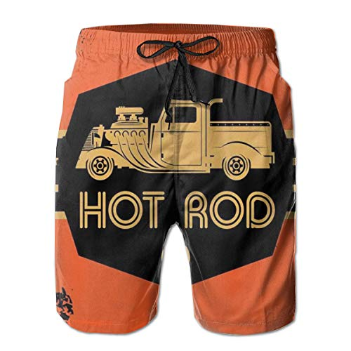 - Men Swim Trunks Beach Shorts,Hot Rod Grunge Poster Design with Custom Truck Americana Vintage Engine XL
