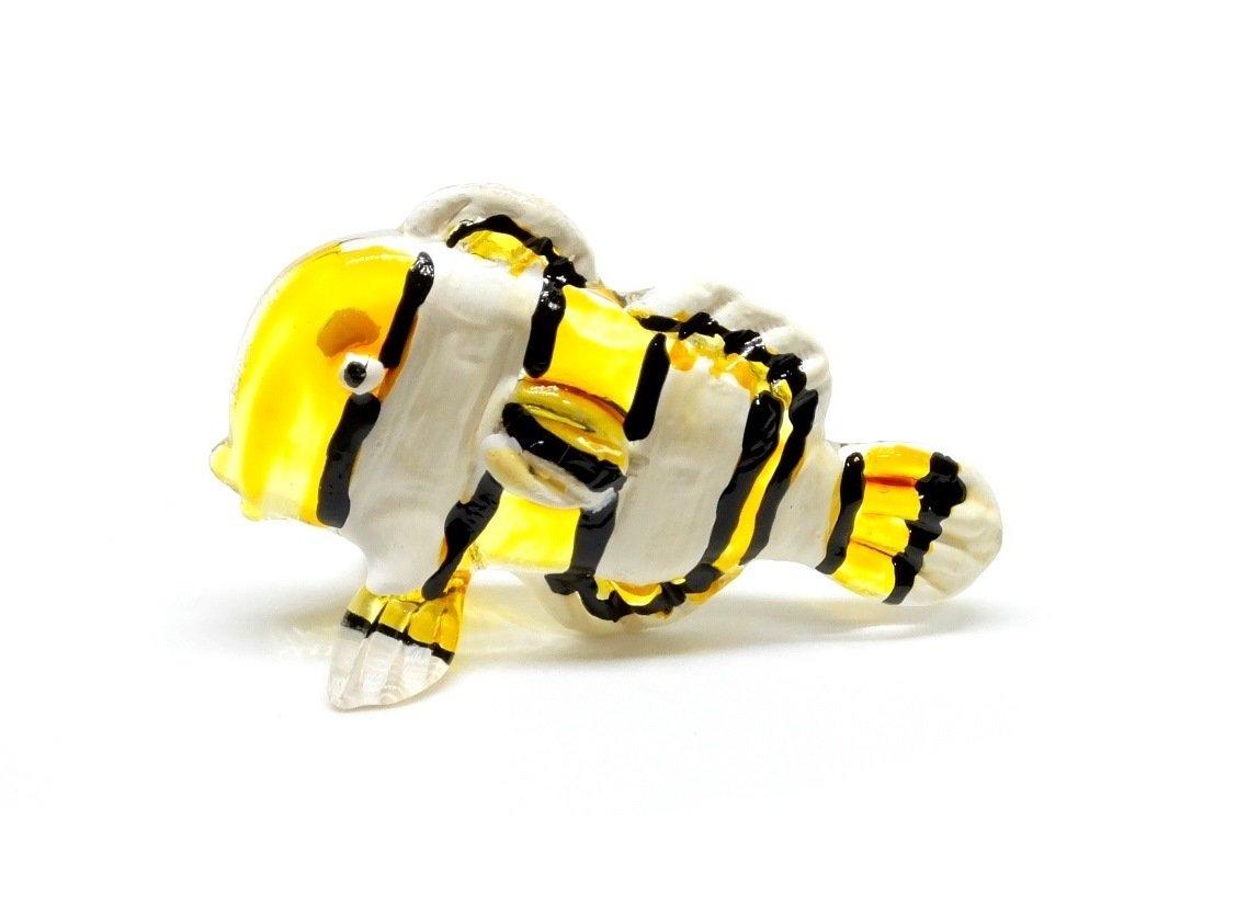 Handmade Yellow Clownfish Fish Art Glass Blown Sea Animal Figurine No.3 - Model 2018
