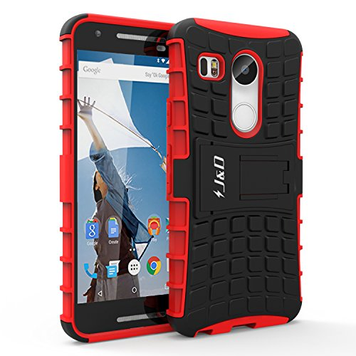 Nexus 5X Case, J&D [Kickstand] Google Nexus 5X Case [Heavy Duty] [Dual Layer] Hybrid Shock Proof Fully Protective Case for for Nexus 5X (Red)