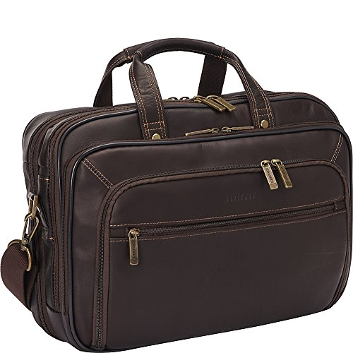 Lined Top Zip Briefcase (Heritage Double Gusset Top Zip EZ Scan Computer Case with IPad Tablet Pocket, Brown, One Size)
