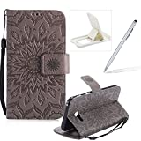 Wallet Case for Samsung Galaxy A5 2017 A520,Strap Flip Case for Samsung Galaxy A5 2017 A520,Herzzer Retro Elegant [Gray Mandala Flower Pattern] Stand Function Magnetic Smart Leather Case with Soft Inner for Samsung Galaxy A5 2017 A520 + 1 x Free White Cellphone Kickstand + 1 x Free Silver Stylus Pen