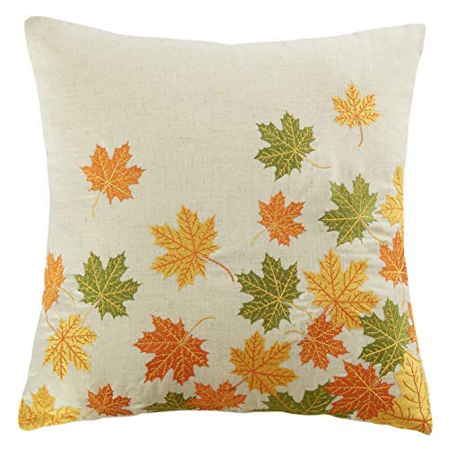 Cassiel Home Thanksgiving Day Throw Pillow Cover 18X18 Thanksgiving Day Decorations Embroidery Fallen Leaves Fall Autumn Linen Pillow Cover Home Decor Harvest Gift