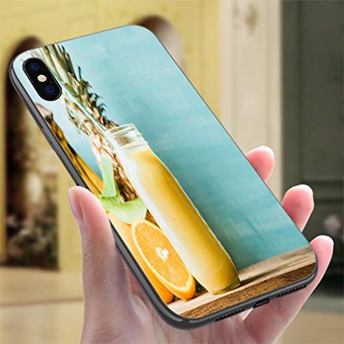 Creative iPhone Case for iPhone X/XS Freshly Blended Yellow and Orange Fruit Smoothie in Glass jar Resistance to Falling, Non-Slip,Soft,Convenient Protective Case