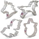 Unicorn Cookie Cutters Set - 4 piece - Unicorn, Cute Unicorn, Unicorn Head & Face - Ann Clark - Tin Plated Steel