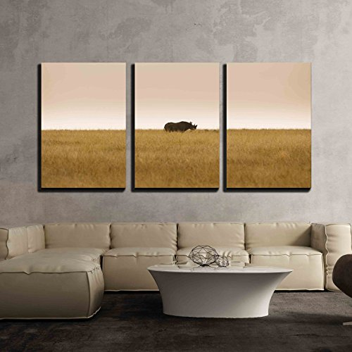 Critically Endangered Black Hook Lipped Rhinoceros Diceros Bicornis in African Savanna x3 Panels