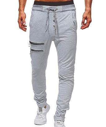 Huateng Pantalones Jogger para Hombre con Cremallera - Gimnasio ...