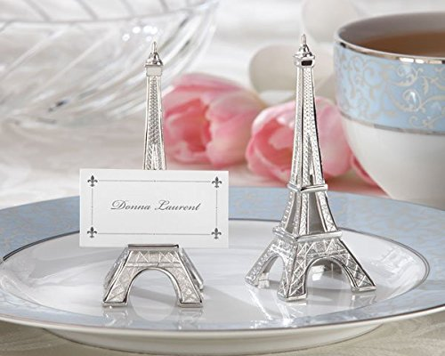 Evening in Paris Eiffel Tower Silver-Finish Place Card/Holder Set of 4 - Total 24 sets