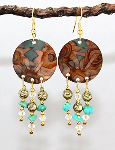 Mountain Turquoise Nugget - Burnt Copper Chandelier Earrings with Clear Crystal and Turquoise