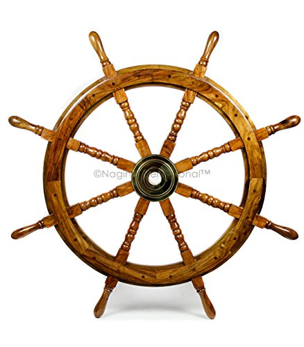 Nautical Handcrafted Wooden Ship Wheel - Home Wall Decor - Nagina International (36 Inches, Natural Wood) by Nagina International