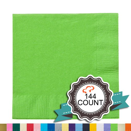 Tiger Chef 144-Pack Lime Green, 9 7/8 inch 2-Ply Colored Paper Beverage Napkins , folded size 5 x 5 inch, Wedding, Decorative, Party Napkins - Includes Napkin Folding Guide (144, - Napkins Lime Beverage Green