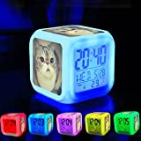 Alarm Clock 7 LED Color Changing Wake Up Bedroom with Data and Temperature Display (Changable Color) Customize the pattern-002.#cat #cats #TagsForLikes #catsagram #catstagram