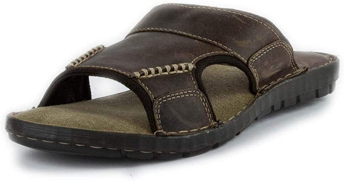 Red Tape Waxy Mens Brown Leather Mule Sandal