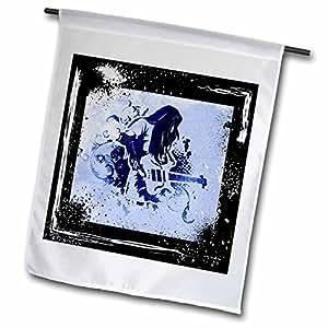 Spiritual Awakenings Music - Rock and roll guitar player art with grunge frame and highlights - 18 x 27 inch Garden Flag (fl_53880_2)