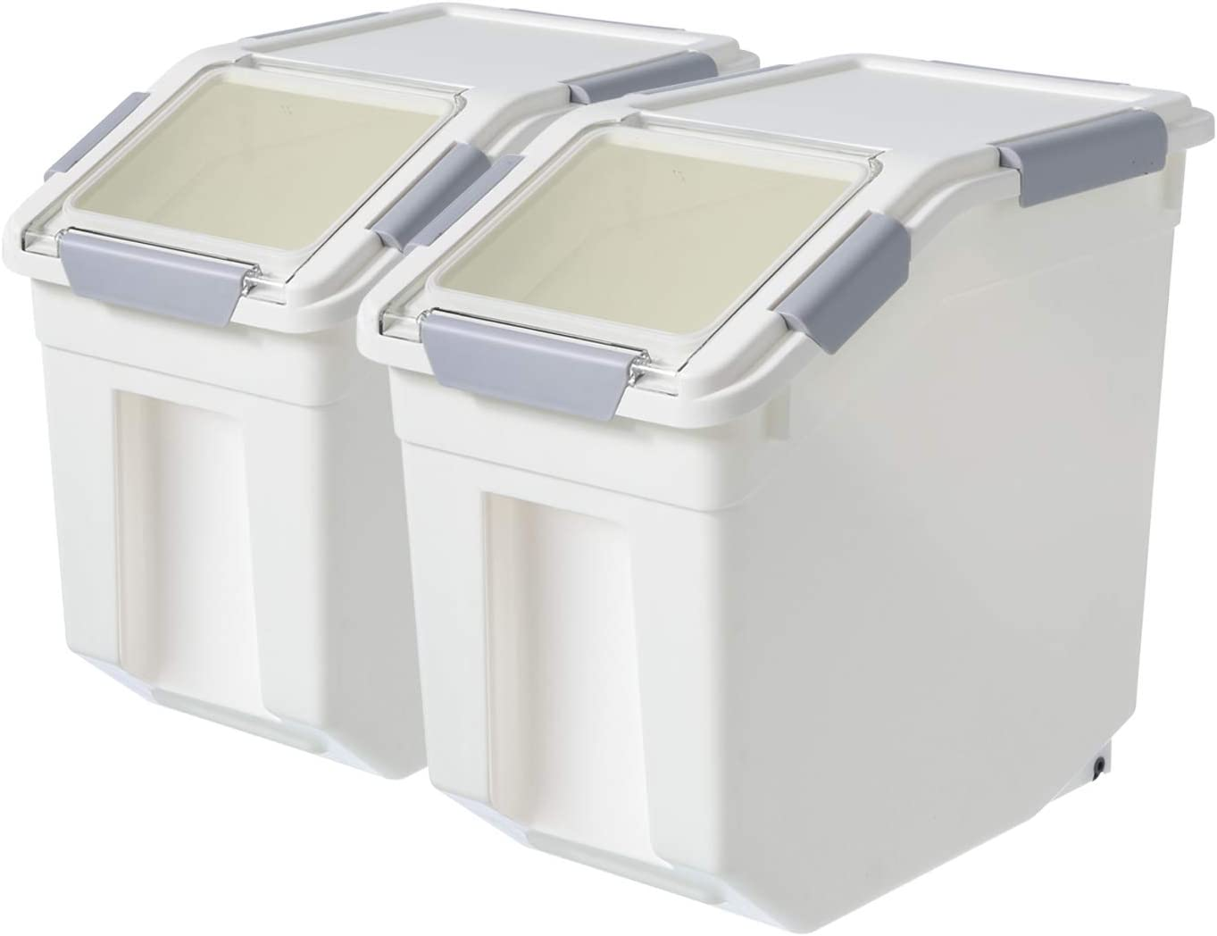 2 Pack Airtight Flour Storage Container With Scoop,Dry Food, Sugar, Baking Supplies,Rice Container Set -BPA Free- Pet Food Storage Container,Dog Cat Birds Food Bin(20 lb)