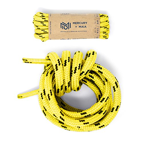 Mercury + Maia Honey Badger Boot Laces W/ Kevlar - USA Made Shoelaces (Yellow and Black) (48 inches 1 Pair Pack) (Honey And Lace)