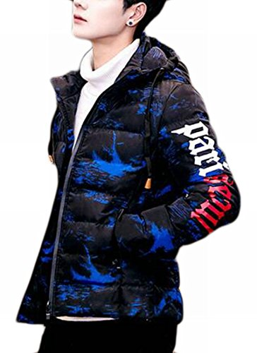 Lightweight Mens Jacket Classic Long Blue TTYLLMAO Como Denim Sleeve Hooded Print Down xBqzq0wSgd