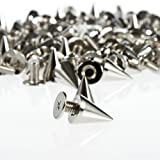 Mosuch Cone Spikes  100pcs/set 9.5mm Silver Cone Spikes Screwback Studs DIY Craft Cool Rivets Punk
