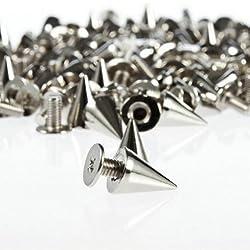 SZD 100pcs/set 9.5mm Silver Cone Spikes Screwback Studs DIY Craft Cool Rivets Punk