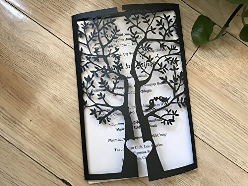Black Tree Laser Cut Wedding Invitation,Wedding Invite,Lace Wedding Invite,Tree Invitation,Love Bird Wedding (Love Birds Wedding Invitation)