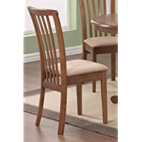 Set of 2 Dining Chairs Microfiber Fabric Dark Oak Finish